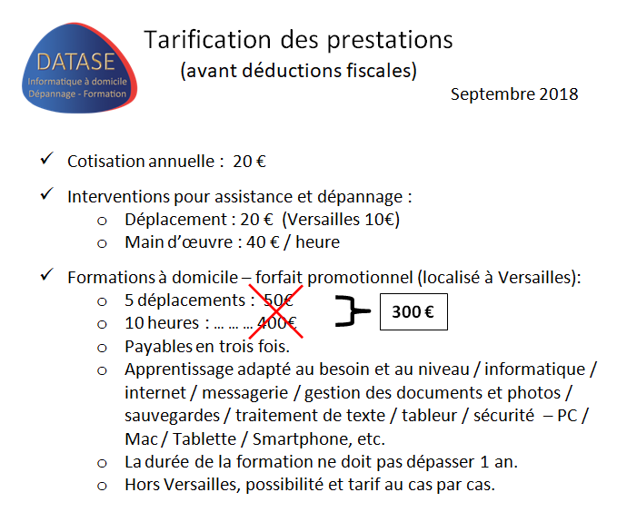 Tarification des prestations